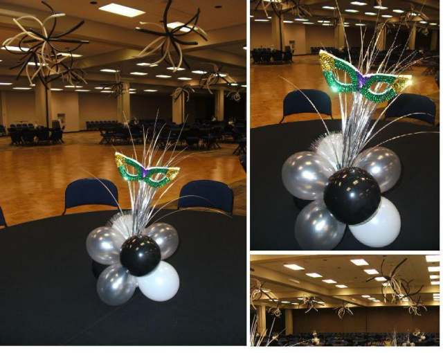 Centerpieces balloon bouquets tall floor bouquets for Balloon decoration ideas no helium