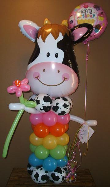 #CH41 - 3.5ft Cool Cow Balloon Character, Any Occasion, Delivery in the Tulsa & Surrounding Area