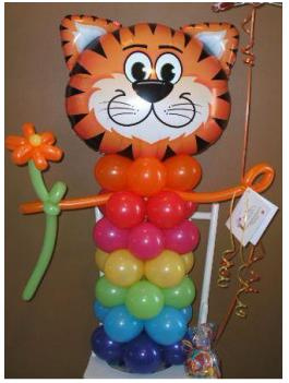 #CH39 - 3.5ft Tickle Tiger Balloon Character or Bouquet, Any Occasion, Delivery in the Tulsa & Surro