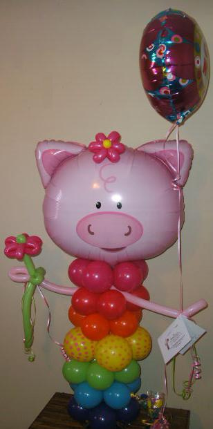 #CH40 - 3.5ft Playful Pig Balloon Character, Any Occasion, Delivery in the Tulsa & Surrounding Area