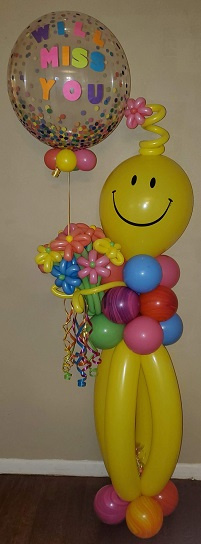 #CH8 - 6ft Smiley Guy with Twisted Flowers for any occasion, Delivery in the Tulsa & Surrounding Are