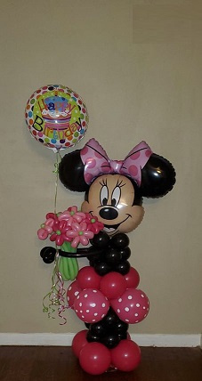 #CH24 -  5 Ft Tall Minnie Mouse Balloon with Flowers with Helium Filled Foil Balloons